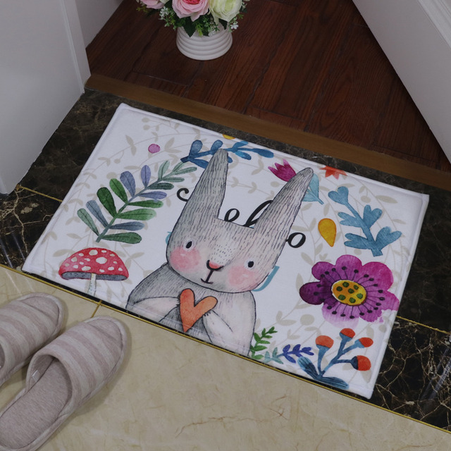 Bathroom Carpet Doorway Floor Antiskid Absorbent Cute Smell Rabbit Printing Bath Mat Kitchen Carpet Rugs Doormat tapete banheiro