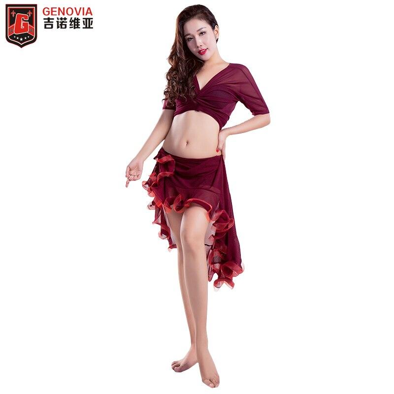2019 Women Belly Dance Costume Top Blouse +Skirt+ Bottom Pants 3pcs Set Practice and Skirt