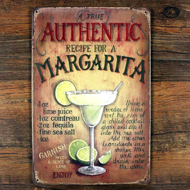 RO-X-0333 New arrival about authentic margarita beer  metal tin signs vintage home decor poster wall art craft sticker 20X30cm image