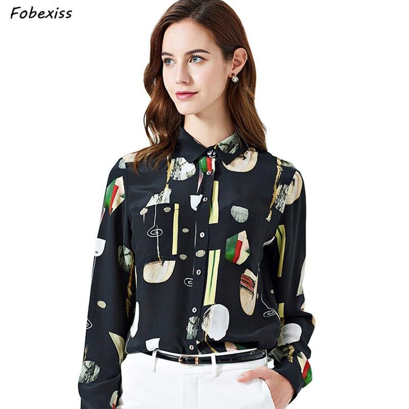 100% Mulberry soie chemise femmes été nouveau 2019 à manches longues bouton Blouse soie bureau montre de sport Modis noir imprimé grande taille chemise chemisier femme blouse femme grande taille femme top femme été