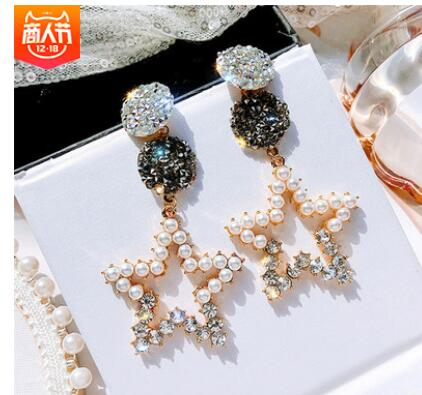 Hollow out Five-pointed star pearl earring feminine Korean personality crystal zirconia 925 jewelry earrings Flower