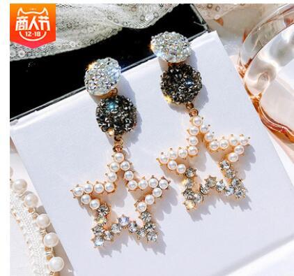 Hollow out Five-pointed star pearl earring feminine Korean personality crystal zirconia 925 jewelry earrings Flower