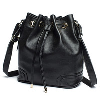 Fashion 2017 New Candy Color All Match Bucket Bag Genuine Cow Leather One Shoulder Cross Body