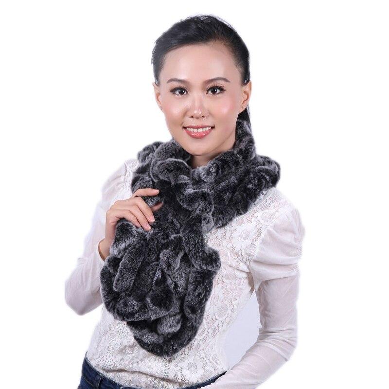 Женский шарф из натурального меха, зимний теплый шарф из натурального меха кролика рекс