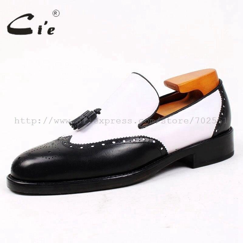 CIE круглый носок черный, белый цвет Ленточки Slip-On натуральной телячьей Кожаная подошва дышащая заказ кожаные мужские туфли ручной работы loafer69