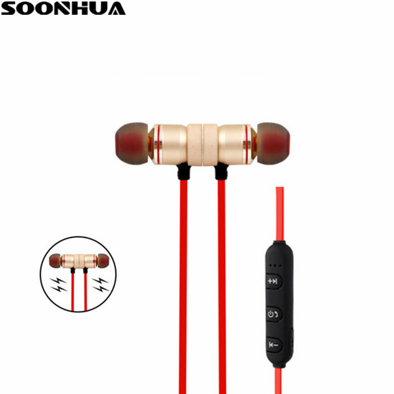 SOONHUA Sport Magnetic Bluetooth Earphone V4.2 Wireless Noise Reduction Headset Sweatproof Stereo Earbud Headphones With Mic