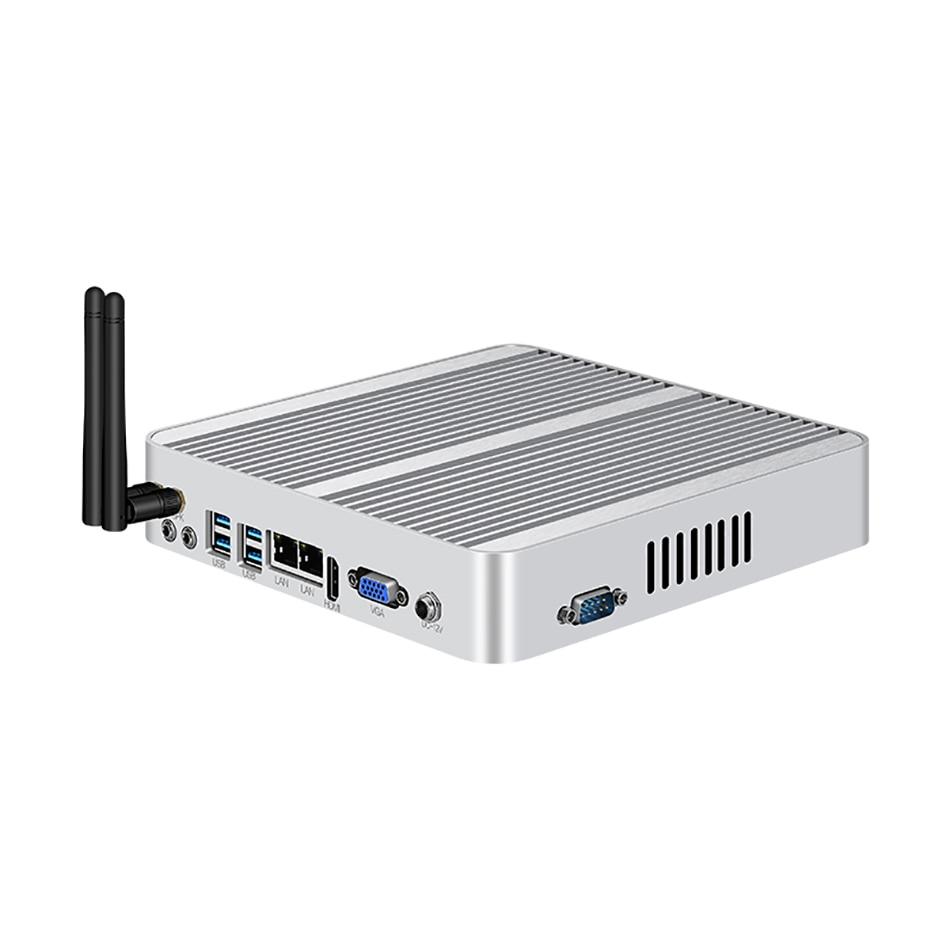 Fanless Intel Mini PC I7 5500U Windows 10 8GB RAM 120GB SSD 300M WiFi Dual NIC Gigabit Ethernet 8xUSB HDMI VGA 3G/4G LTE