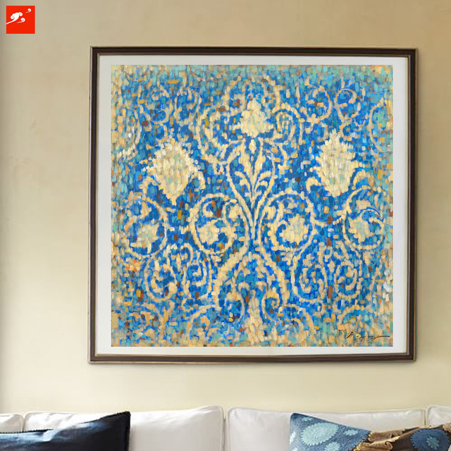 2016 Antique Paisley Blue Gold Renaissance Abstract Wall Art Oil ...