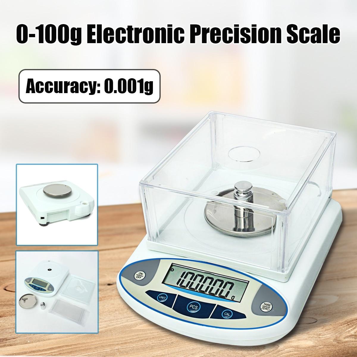 100x0.001g 1 mg Numérique Laboratoire Laboratoire Balance Analytique Électronique Précision Bijoux Échelle Or Diamant Herbe Poids Échelle 100g