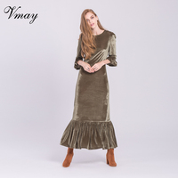 Vmay Women Fashion Bohemian Long Dresses New Arrival Autumn Winter Green Flare Sleeve Ruffle O Neck