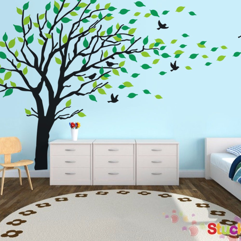 Giant Tree Leaf Removable Wall Decals Stickers Mural Living Room Home Decor  180X300CM(China (