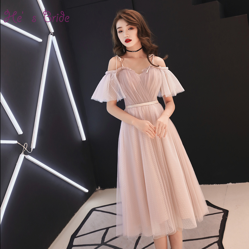 He's Bride New Elegant Pink Strap Boat Neck Tea-Length Evening Dress Party Prom Formal Dresses Evening Gown Robe De Soiree