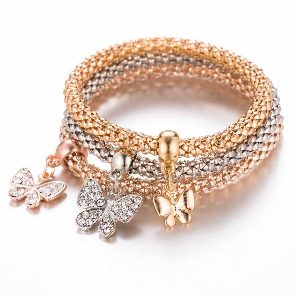 3 pz/set di Cristallo Del Gufo Cuore Braccialetti con ciondoli e Braccialetti In Oro Rosa Oro Argento Elefante Ancoraggio Pendenti con gemme e perle di Strass Bracciali Set