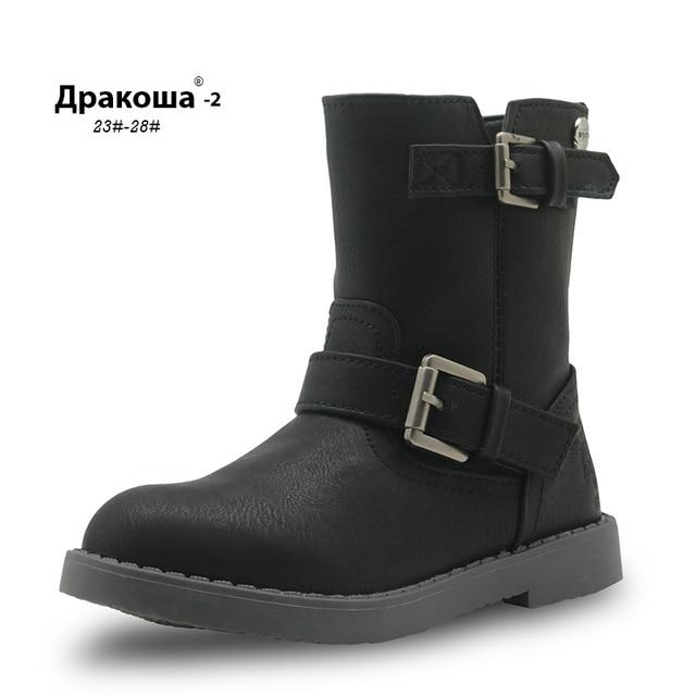APAKOWA/женские зимние сапоги до середины икры из искусственной кожи, модная детская обувь, новые однотонные Ботинки martin для девочек, сапоги для верховой езды, европейские размеры 25-30