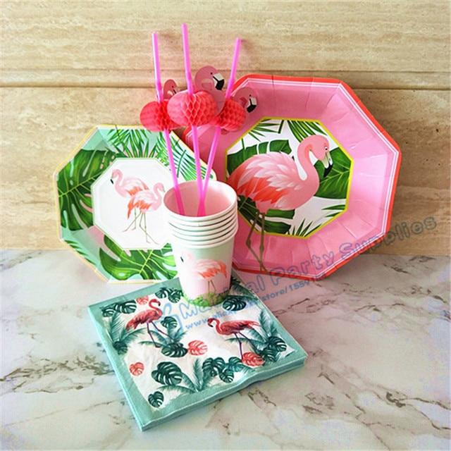 40 Sets Flamingo Luau Tropical Hawaiian Party Supplies Paper Plates Dishes Cups Napkin Straws Tableware Wedding & 40 Sets Flamingo Luau Tropical Hawaiian Party Supplies Paper Plates ...