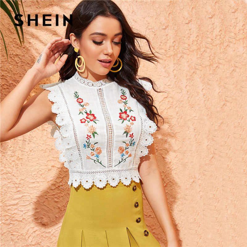 Шеин макет шеи гипюрное кружево для отделки белая блузка с вышивкой Женские топы и блузки Boho без рукавов, приталенная летняя укороченная Топ