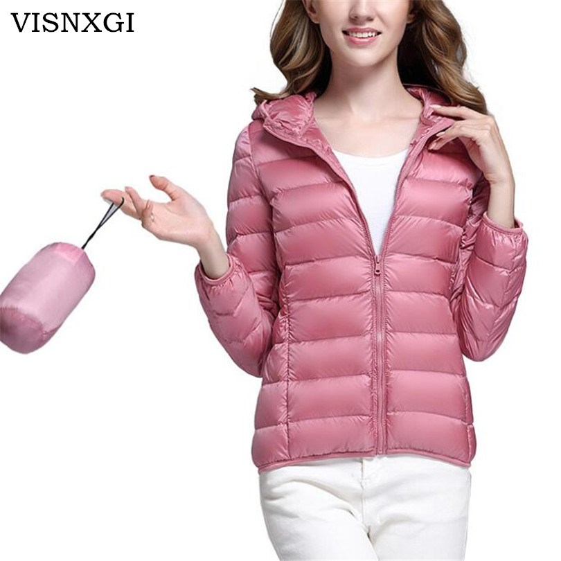 VISNXGI Autumn Winter Women   Basic     Jacket   Coat Female Slim Hooded Down   Jacket   White Duck Down Coats Casual Black Warm   Jackets