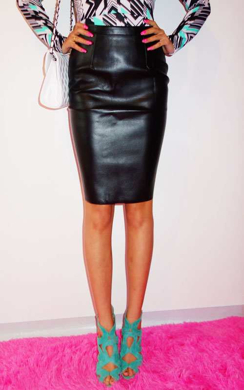 Black Leather Knee Length Skirt - Dress Ala