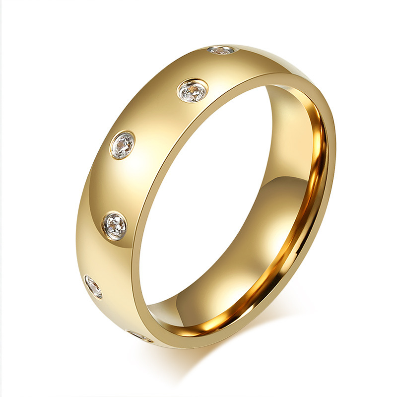 Rings For Women 5A CZ Wedding Bands 6mm Gold color High Polished ...