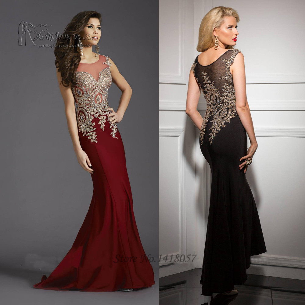 Vestido Longo de Festa Burgundy Black Long Mermaid Evening Dress ...
