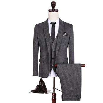 High quality men's Brand Slim suits Adults Wedding Dress Formal wear clothes male Business Casual Suits jacket+vest+pants
