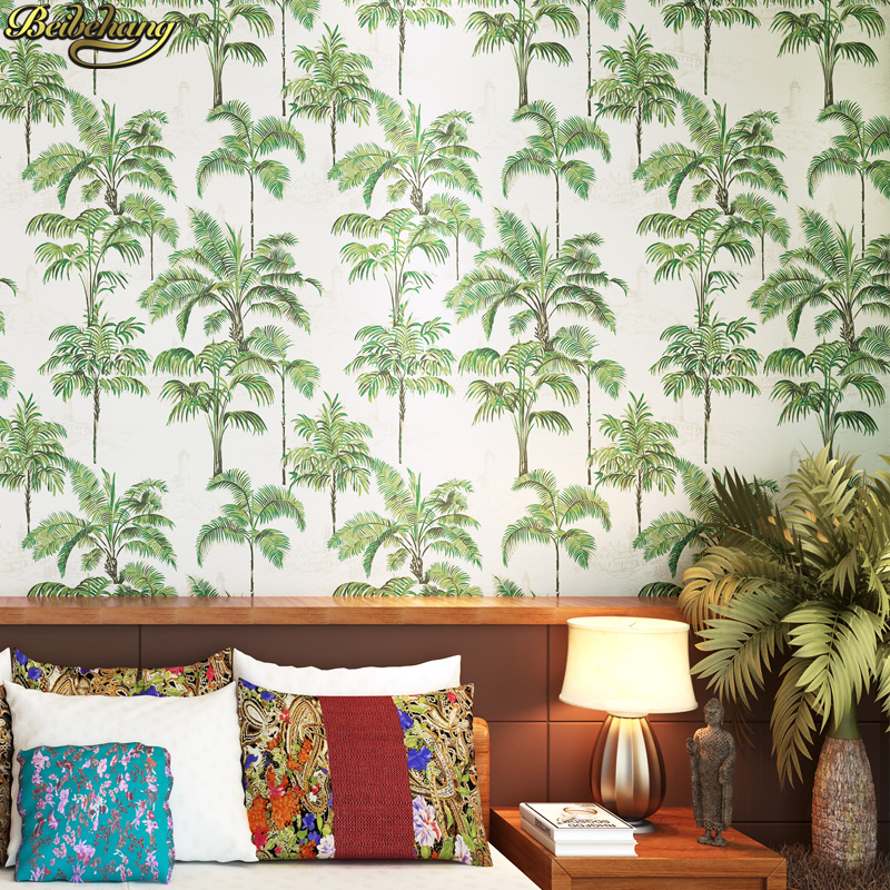 beibehang Southeast Asian style green coconut pure paper wallpaper bedroom bedside living room TV backdrop papel de parede beibehang southeast asia style elephant giraffe non woven living room bedroom bedside background wallpaper papel de parede