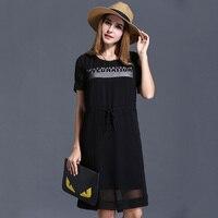 2016 Summer Women Letter Print Casual Dress XL 5XL Plus Size O Neck Women Chiffon Black