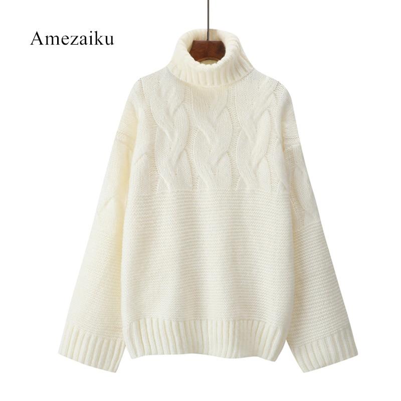 Autumn Winter Women Sweater Long Sleeve high neck Women Jumper Thicken Women Winter Clothes Pullover Lotus White Thicken