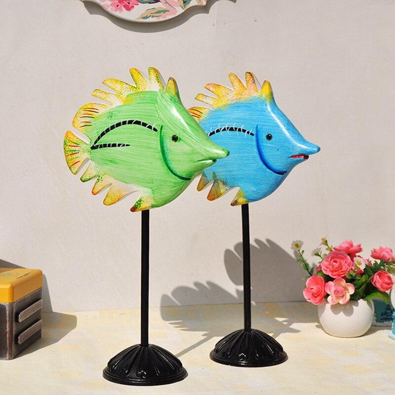 Bois coloré Home Decoracion accessoires bureau 2 pièces poissons ornements artisanat Unique en bois poissons Enfeites Para Casa Decoracao - 3