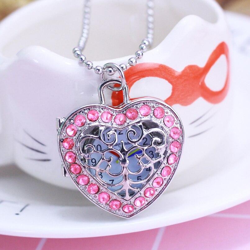 Hot New Children Girls Personality Flip Hollow-out Quartz Pocket Watch Heart-shape Diamond Rhinestone Fob Watches Necklace Clock