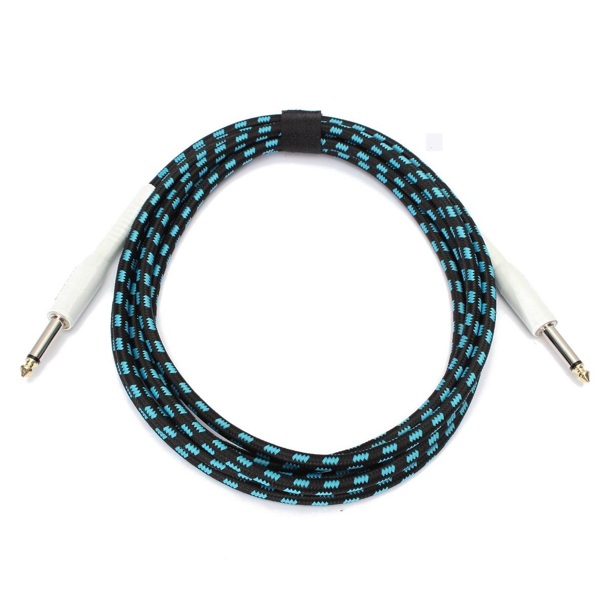118 pulgadas Azul y Negro Guitar Cable Con 6.5mm Interfaz de Dispositivo Conecta