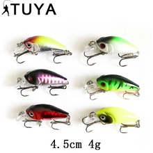 6pcs/set Crankbait Fishing Lure Wobblers Minnow Synthetic Bait floating twitching Crank bait mini laborious lures 4.5cm 4g Pike bass