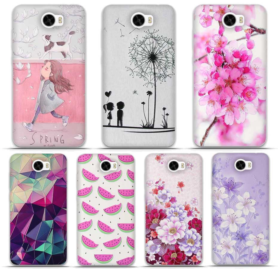 For Huawei Y5 II 2 Y5II Case 3D Printing Flower Silicone Phone Cases For Fundas Huawei Y5 2 Case Soft TPU Case For Huawei Y5 2