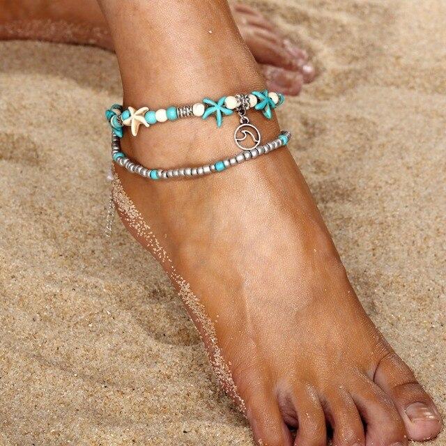 2018 Bohemian Wave Anklets For Women Vintage Multi Layer Bead Anklet Leg Bracelet  Sandals Boho DIY Summer Charm Jewelry 8dfa04d787da