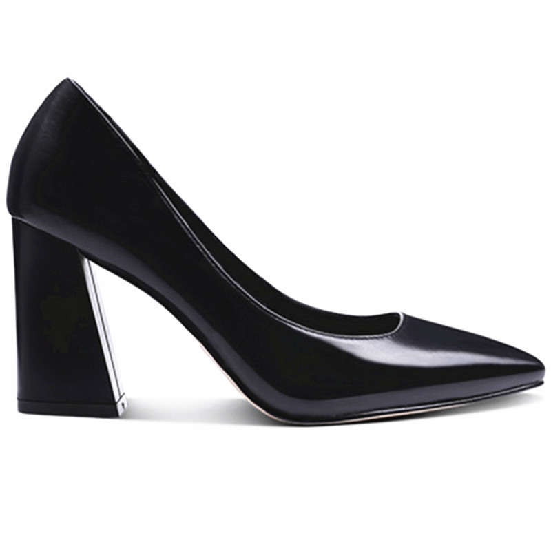 women's shoes European new high-heeled shallow fashion toe pumps black medium heel large size thick heel genuine leather shoes