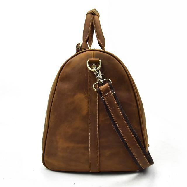 Men genuine leather travel bag durable crazy horse leather travel duffel big capacity Real leather large shoulder weekend bag