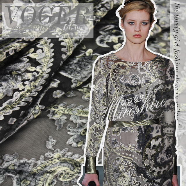 Free Shipping Grey jacquard 100% Silk Velvet Fabric Georgette Clothes Fabric Thickening Autumn Lace Plus Size Dress Fabric OEM