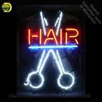 Неоновая вывеска для волос с Парикмахерская Салон Войдите неоновая трубка коммерческих света ручной работы лампы магазине отображает неон
