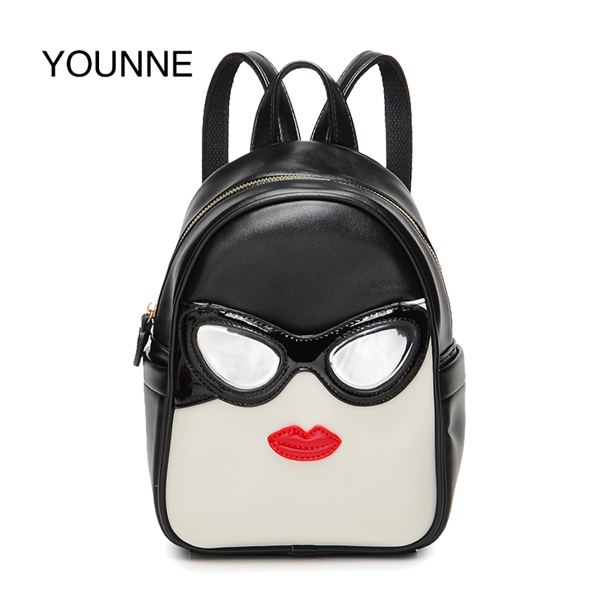 YOUNNE Women Leather Backpack Lady Fashion Daily Backpacks Female Hight Quality Shoulder Bag Teenage Girl Human Face School Bags hot sale 2016 new fashion women genuine leather backpack school bag female travel bags daily backpacks casual shoulder bags