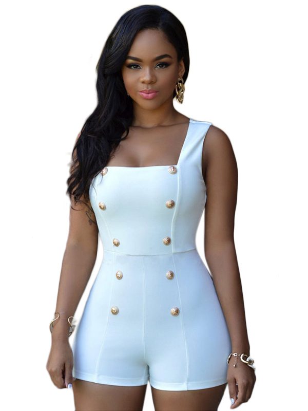 14dee2bc807 Dear Lover Playsuits Womens 2016 Black Gold Buttons Zipper Romper Shorts  Sexy Jumpsuit macacao feminino Summer bodysuits LC60513-in Rompers from  Women s ...