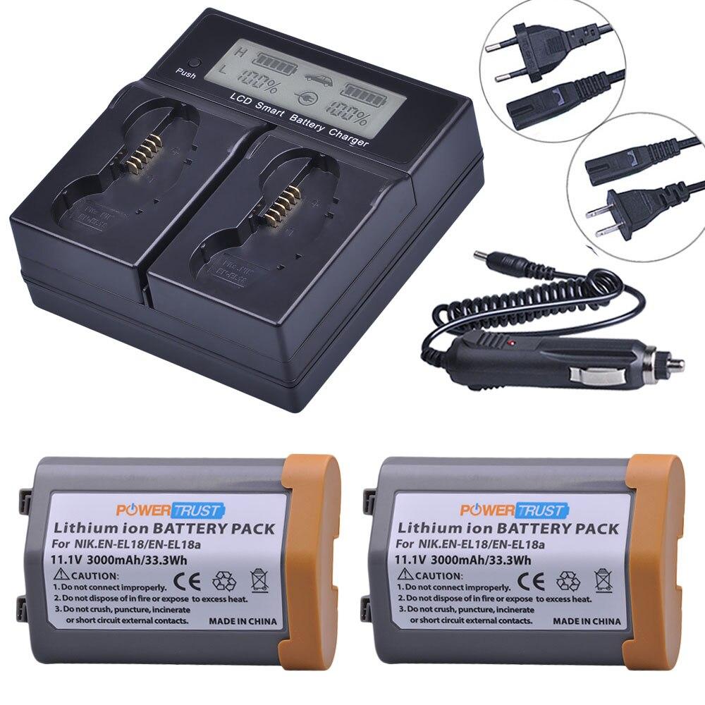2 uds.-Batería de EN-EL18 EN-EL18A de 3000mAh + cargador Dual LCD rápido inteligente para Nikon EN EL18 ENEL18 D4, D4S, D5, MB-D12, D800, D800E La más alta lúmenes, la más potente linterna LED XHP90 de largo alcance con Zoom táctico XHP70.2, lámpara de antorcha LED con batería 26650 de gran alcance