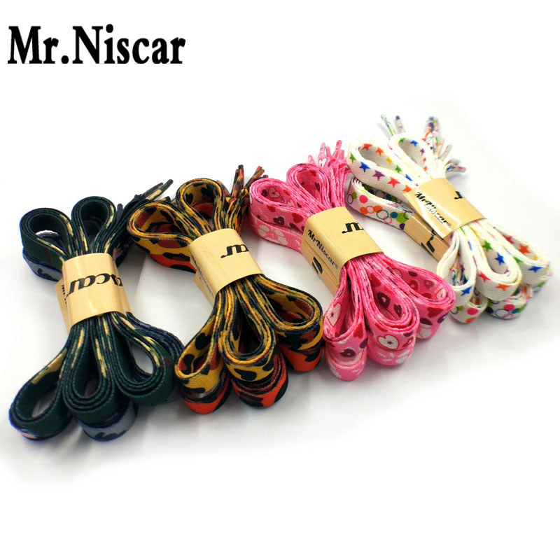 1 Pair 115cm Flat Shoelaces Top Quality Double Printed Leopard Flowers Heart Cotton Shoe Laces Soft Comfort for Fashion Shoes