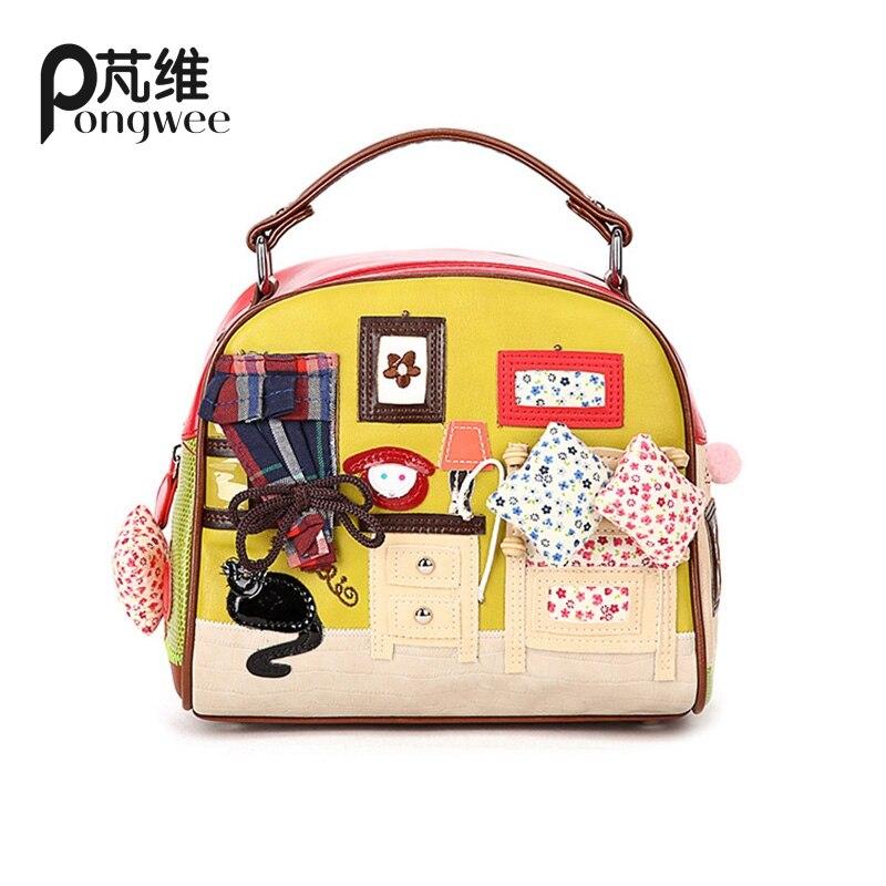 ФОТО PONGWEE Top-Handle Bags brand women handbag PU tote bag female classic Multi prints shoulder bags ladies handbags messenger bag