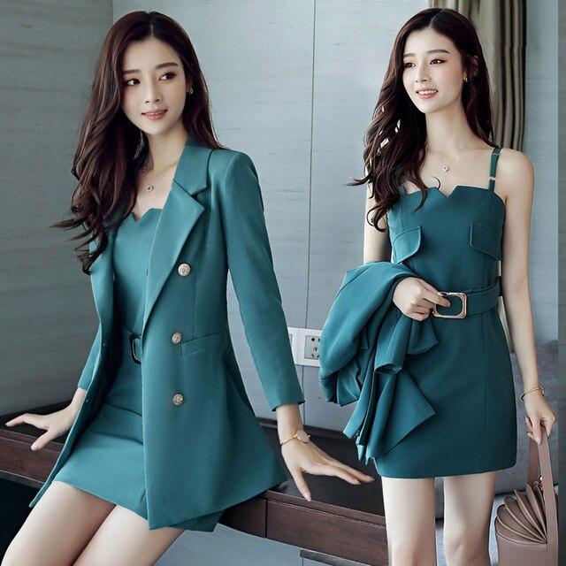Autumn Business Suit Elegant Office Dress Lady Work 2 Pieces Set Long Sleeve Blazer and Sleeveless Dress Suit Set 1