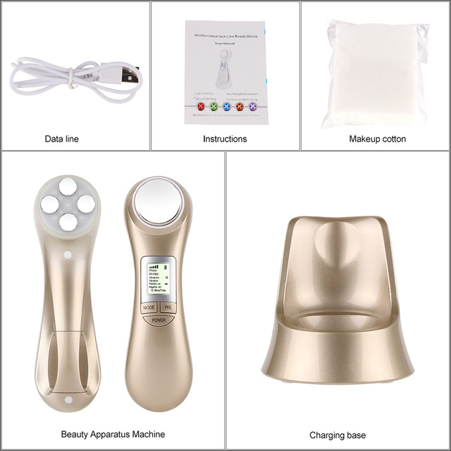 Face skin care machine rf skin rejuvenation microcurrent ultrasonic facial machine portable led light therapy for wrinkle remova 4