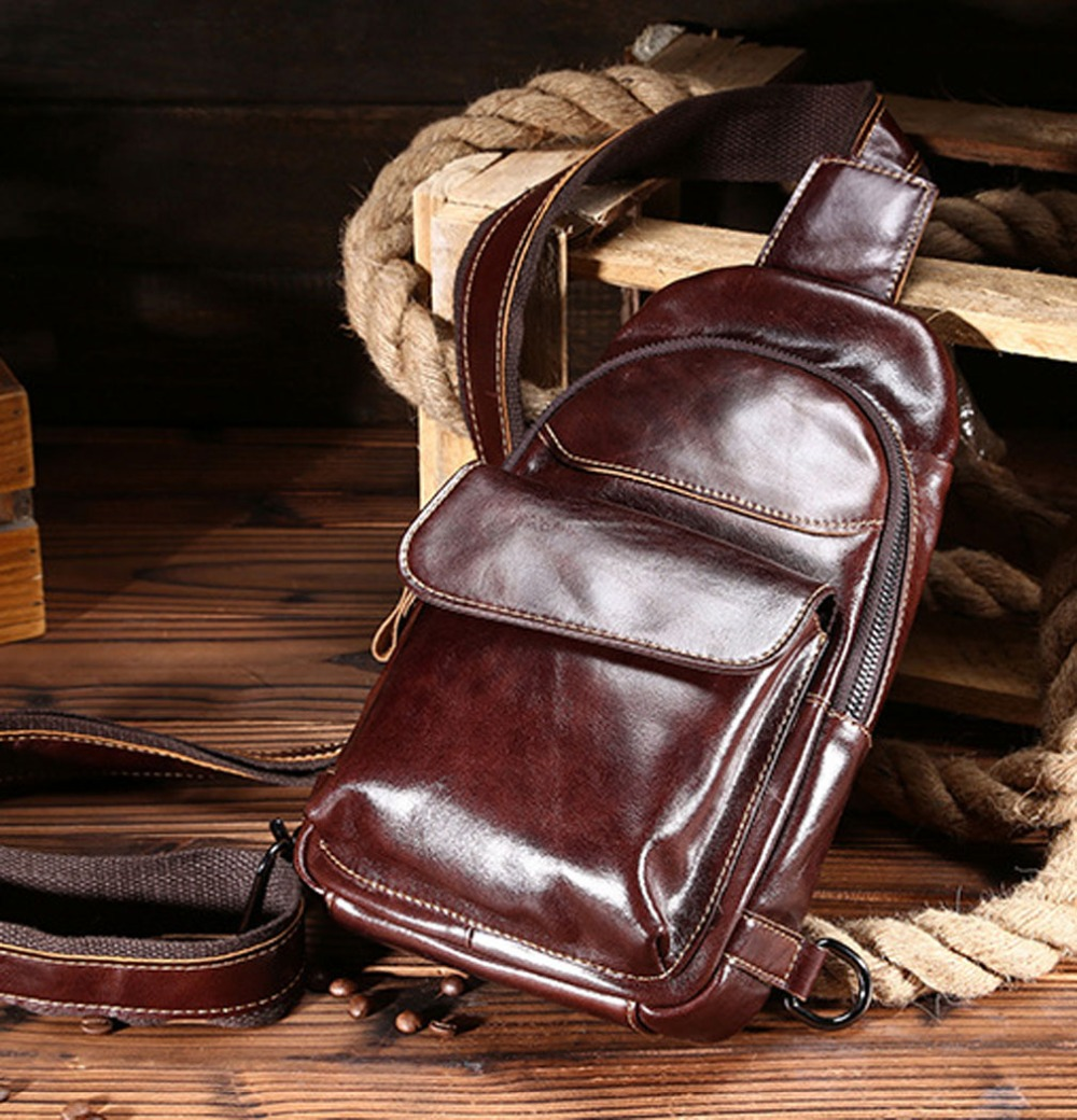 Men Vintage Oil Wax Genuine Leather Cowhide Sling Chest Back Day Pack Travel Messenger Shoulder Bag DropShipping ferrino o hare day pack