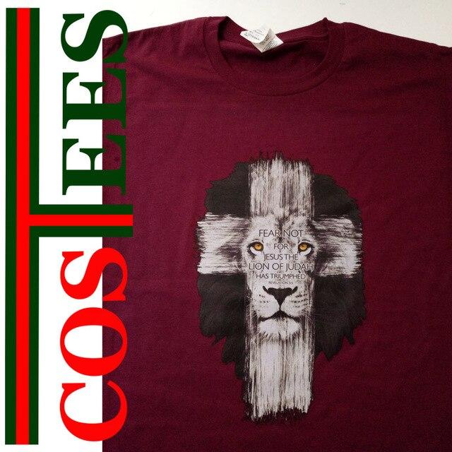 72773706 Christian T-Shirt Lion of Judah Cross
