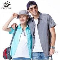 Tectop marka erkek kadın hızlı kuru yürüyüş gömlek yaz seyahat trekking giyim açık tırmanma spor kısa kollu gömlek, am062