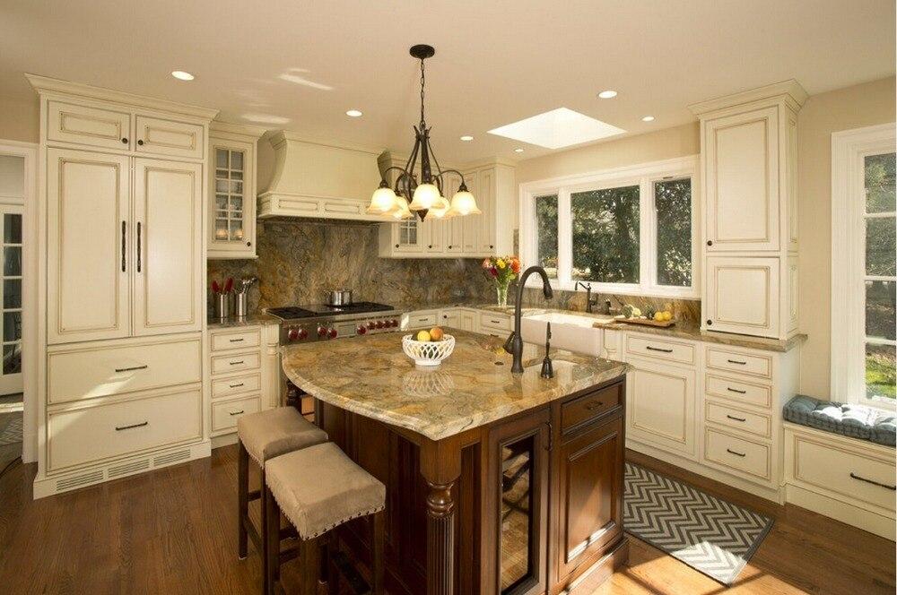 2017 kitchen cabinet traditional solid wood kitchen furniture armoires de cuisine kitchen island with storage S1606016