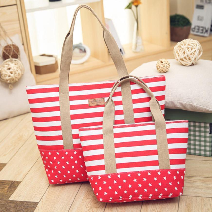 Women's Canvas Striped Tote Bag Shoulder Bag Women's Solid Color Zipper Large Bag Shopping Bag #F